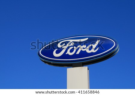 MELBOURNE AUSTRALIA - APRIL 24, 2016: Ford car manufacturer.  The Ford Motor Company is an American multinational automaker headquartered in Dearborn, Michigan.  - stock photo