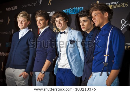 MELBOURNE, AUSTRALIA - APRIL 15: Niall Horan, Liam Payne, Harry Styles, Zayn Malik & Louis Tomlinson of One Direction arrive at the 2012 Logie Awards, Crown Casino, April 15, 2012 Melbourne, Australia - stock photo