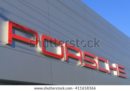 MELBOURNE AUSTRALIA - APRIL 24, 2016: Porsche car manufacturer.  Porsche is a German sports car manufacturing company founded in 1931  - stock photo