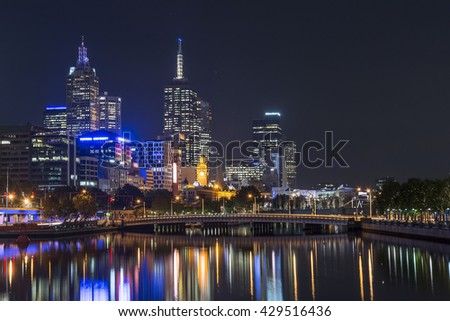 MELBOURNE, AUSTRALIA - APRIL 2014: Skyline by night