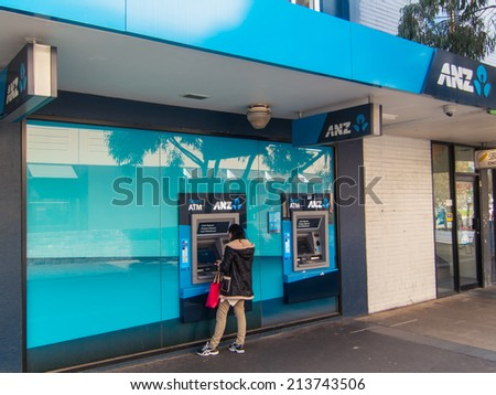 MELBOURNE, AUSTRALIA - August 22, 2014: a branch of the ANZ Bank, one of Australia's four large national banks. This is the Box Hill branch.