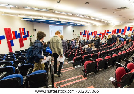 Melbourne, Australia - August 2, 2015: humanities lecture theatre in the Rotunda building at the Clayton campus of Monash University, one of Australia's top public universities. - stock photo