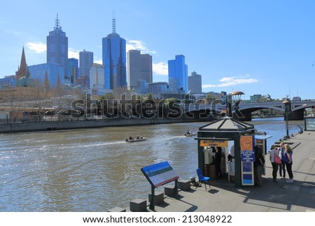 MELBOURNE AUSTRALIA - AUGUST 23, 2014: Melbourne skyline and Yarra river - Melbourne was crowned the most liveable city 2013 in the Economist Intelligence Unit Survey.