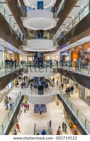 Melbourne, Australia - August 1, 2015: People shopping in Emporium Melbourne, a premier shopping centre with flagship stores over seven levels in the heart of Melbourne's CBD.