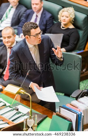 MELBOURNE/AUSTRALIA - AUGUST 16, 2016: Premier Daniel Andrews defends his Governments actions against the CFA in Question Time on Tuesday.