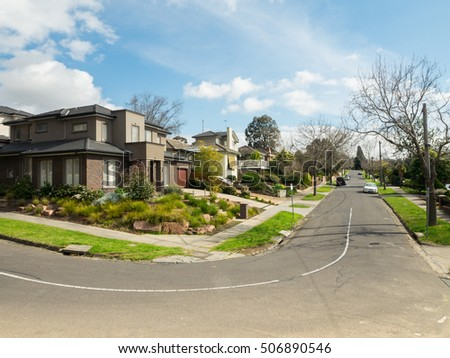 Melbourne, Australia - August 24, 2016: typical Australian family homes in the upper middle class eastern suburb of Balwyn North, on Carrington Street.