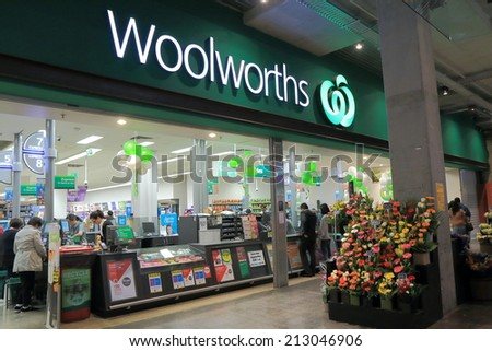 MELBOURNE AUSTRALIA - AUGUST 23, 2014: Unidentified people shop at Woolworths Supermarket - Woolworths is the largest supermarket chain in Australia.  - stock photo