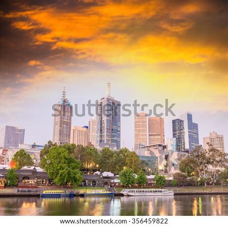 Melbourne, Australia. Beautiful city skyline at sunset. - stock photo