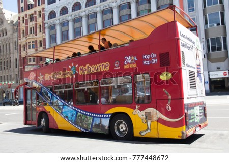Melbourne, Australia - December 16, 2017: City Sightseeing double decker bus in Melbourne Downtown
