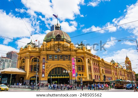 MELBOURNE, AUSTRALIA - December 30 2014: Iconic Flinders Street Station was completed in 1910 and is used by over 100,000 people each day - December 30 2014, Melbourne Australia, - stock photo