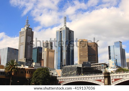 Melbourne, Australia, 24-December-2014: Melbourne city center view. Melbourne is famous for its modern and artistic architectures.
