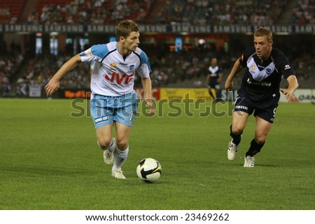 Melbourne, Australia - December 27, 2008. Melbourne Victory 3 df Sydney FC 2 at the Telstra Dome - stock photo