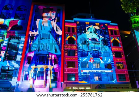 Melbourne, Australia - 21 February 2015: Art colorful projections over historical buildings.More then 500,000 people joined annual Melbourne's White Night cultural festival in Melbourne, Australia