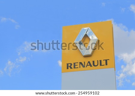 MELBOURNE AUSTRALIA - FEBRUARY 21, 2015: RENAULT Car manufacturer. RENAULT is a French multinational vehicle manufacturer established in 1899 and produces a range of cars and van  - stock photo