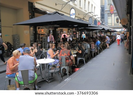MELBOURNE AUSTRALIA - FEBRUARY 13, 2016:Unidentified people dine at cafe in downtown Melbourne.  - stock photo