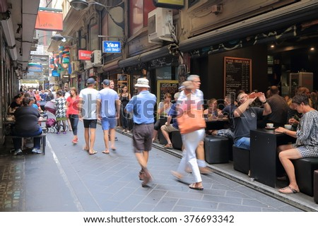 MELBOURNE AUSTRALIA - FEBRUARY 13, 2016:Unidentified people dine at Center Place in Melbourne.  - stock photo
