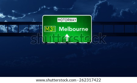 Melbourne Australia Highway Road Sign at Night - stock photo