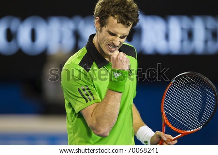 MELBOURNE, AUSTRALIA - JANUARY 28: Andy Murray(GBR)[5] defeats David Ferrer(ESP)[7] at the Australian Open on January 28, 2011 in Melbourne, Australia - stock photo
