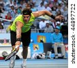 MELBOURNE, AUSTRALIA - JANUARY 20: Argentinian tennis player Juan Martin Del Potro in his win over US opponent James Blake in the 2010 Australian Open on January 20, 2010 in Melbourne, Australia - stock photo