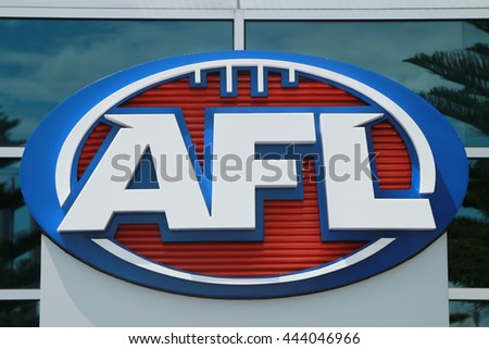 MELBOURNE, AUSTRALIA - JANUARY 31, 2016: Australian Football League logo at Etihad Stadium in the Docklands,  Melbourne. AFL is the professional competition in the sport of Australian rules football