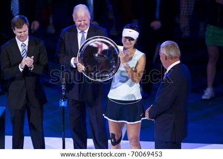 MELBOURNE, AUSTRALIA - JANUARY 29: Australian Open Women's Final, Na Li(CHN)[9] who was defeated by Kim Clijsters(BEL)[3] on January 29, 2011 in Melbourne, Australia - stock photo