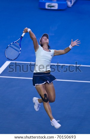 MELBOURNE, AUSTRALIA - JANUARY 29: Australian Open Womens Final,  Na Li(CHN)[9] who was defeated by Kim Clijsters(BEL)[3] on January 29, 2011 in Melbourne, Australia