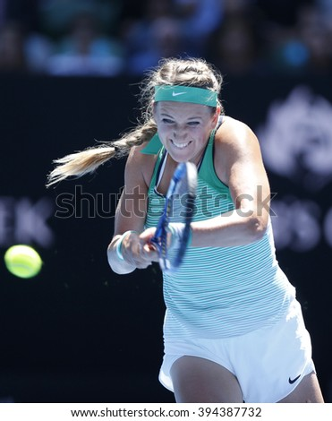 MELBOURNE, AUSTRALIA - JANUARY 25, 2016: Grand Slam Champion Victoria Azarenka of Belarus in action during her round 4 match at Australian Open 2016 at Rod Laver Arena in Melbourne Park - stock photo