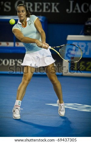 MELBOURNE, AUSTRALIA - JANUARY 17: 2011 Jarmila Groth(AUS) was defeated by  Yanina Wickmayer(BEL)[21] defeats at the Australian Open on January 17, 2011 in Melbourne, Australia
