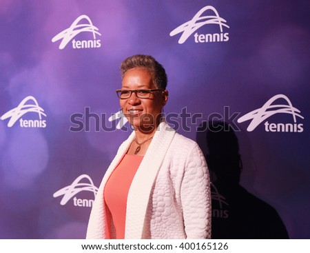 MELBOURNE, AUSTRALIA - JANUARY 29, 2016: Katrina M. Adams, Chairman of the Board, CEO and President of the United States Tennis Association during Australian Open 2016 in Melbourne Park.  - stock photo
