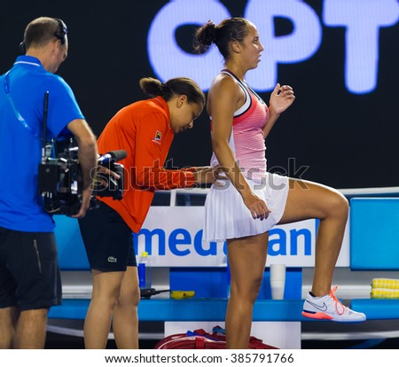 MELBOURNE, AUSTRALIA - JANUARY 25 : Madison Keys during a medical time-out at the 2016 Australian Open