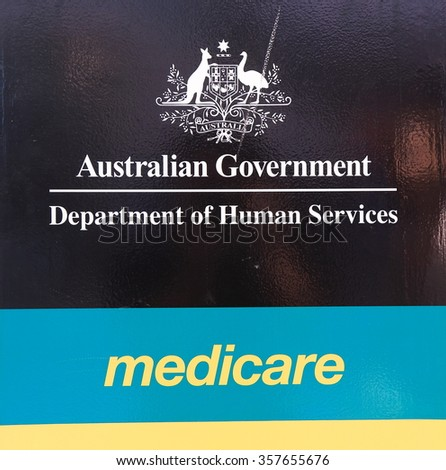 MELBOURNE AUSTRALIA - JANUARY 1, 2016: Medicare Department of Human Services Australia. Medicare provides access to medical and hospital services for all Australian residents.  - stock photo