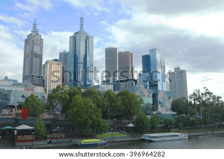MELBOURNE, AUSTRALIA - JANUARY 31, 2016: Melbourne skyline and Yarra river panorama