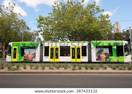 MELBOURNE, AUSTRALIA - JANUARY 31, 2016: Modern Melbourne Tram the famous iconic transportation in the town. - stock photo