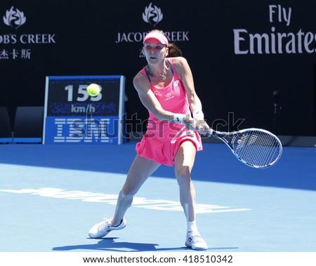 MELBOURNE, AUSTRALIA - JANUARY 26, 2016: Professional tennis player Agnieszka Radwanska of Poland in action during her quarterfinal match at Australian Open 2016 in Melbourne Park - stock photo
