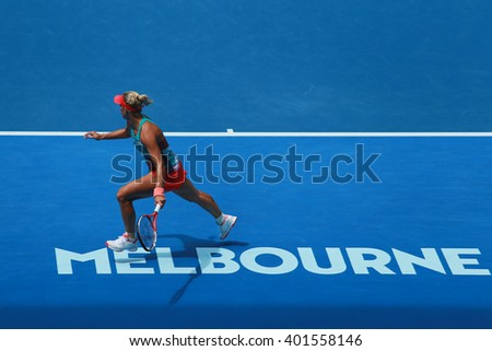 MELBOURNE, AUSTRALIA - JANUARY 27, 2016: Professional tennis player Angelique Kerber of Germany in action during her quarterfinal match at Australian Open 2016 at Rod Laver Arena in Melbourne Park - stock photo