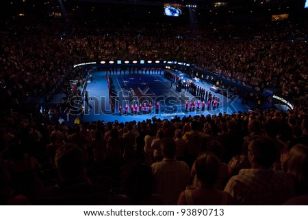 MELBOURNE, AUSTRALIA - JANUARY 28: Rod Laver Arena, Australian Open Women's Final, Victoria Azarenka, Belarus defeats Maria Sharapova, Russia on January 28, 2012 in Melbourne, Australia - stock photo