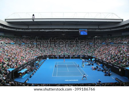 MELBOURNE, AUSTRALIA - JANUARY 25, 2016: Rod Laver arena during Australian Open 2016 match at Australian tennis center in Melbourne Park. It is the main venue for the Australian Open since 1988  - stock photo