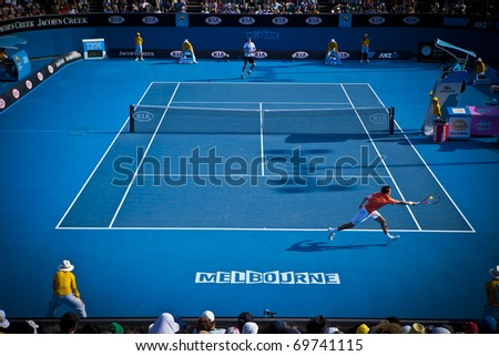 MELBOURNE, AUSTRALIA - JANUARY 22: Singles tennis in the Margaret Court Arena next to the Rod Laver Arena which holds the center court at the Australian Open, January 22, 2011 in Melbourne, Australia - stock photo