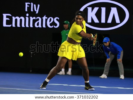 MELBOURNE, AUSTRALIA - JANUARY 30, 2016: Twenty one times Grand Slam champion Serena Williams in action during her final match at Australian Open 2016 at Australian tennis center in Melbourne Park - stock photo