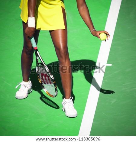 MELBOURNE, AUSTRALIA - JANUARY 23: Venus Williams serves during her third round match against Casey Dellacqua during the 2010 Australian Open on January 23, 2010 in Melbourne, Australia - stock photo
