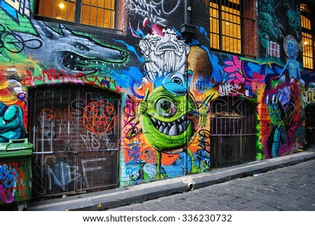 MELBOURNE, AUSTRALIA, July 21 2015: Colorful street art by unidentified artist in Melbourne laneway