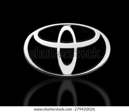 Melbourne,Australia-July 27,2014: Toyota Camry logo isolated on black.Toyota Motor Corporation is a Japanese automotive manufacturer