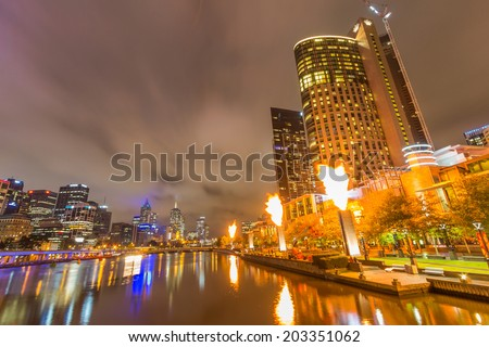MELBOURNE, AUSTRALIA- JUNE 3, 2014: Crown Casino Fire Display in Melbourne, Australia