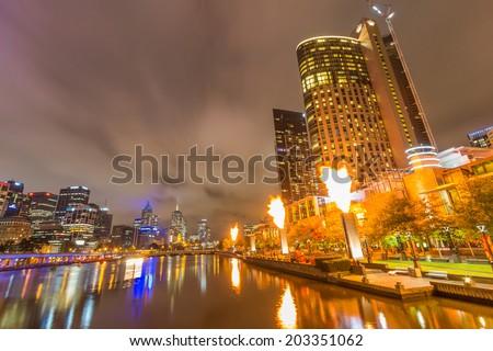 MELBOURNE, AUSTRALIA- JUNE 3, 2014: Crown Casino Fire Display in Melbourne, Australia - stock photo