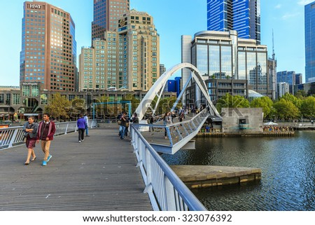 MELBOURNE, AUSTRALIA - MAR 15: Cityscape of Melbourne on Mar 15, 2015 in Melbourne. It's the capital and most populous city in Victoria, and the second most populous city in Australia.