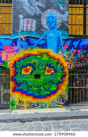 MELBOURNE, AUSTRALIA - MAR 19: Monsters Graffiti at Hosier Lane on Mar 19, 2015 in Melbourne. It's one of the tourist attraction which is the ever-changing graffiti on the walls of Hosier Lane. - stock photo