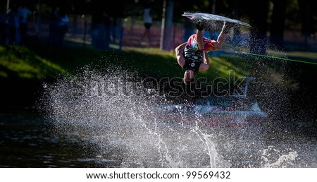 MELBOURNE, AUSTRALIA - MARCH 11: Aaron Gordon in the wakeboard event at the Moomba Masters on March 11, 2012 in Melbourne, Australia - stock photo