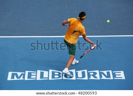 MELBOURNE, AUSTRALIA - MARCH 7: Bernard Tomic of Australia in his win over Hsin-Han Lee of Chinese Taipei  in their Davis Cup tie on March 7, 2010 in Melbourne, Australia - stock photo