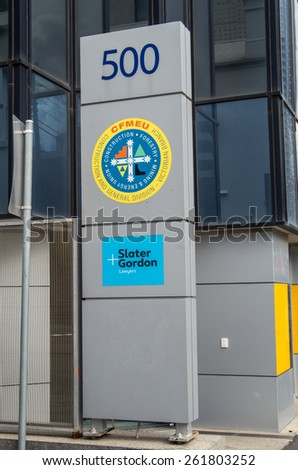 MELBOURNE, AUSTRALIA - March 9, 2015: offices of plaintiff law firm Slater & Gorden, a company listed on the Australian Sock Exchange, and the Construction Forestry Mining and Energy Union in Carlton.