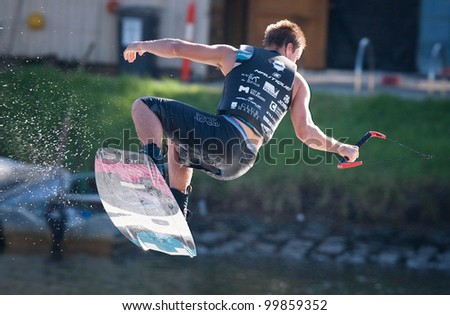 MELBOURNE, AUSTRALIA - MARCH 11: Oliver Renne in the wakeboard event at the Moomba Masters on March 11, 2012 in Melbourne, Australia - stock photo